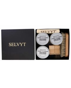 Selvyt 1890 Luxury Shoe Care Gift Box with Horse hair brushes, cloth and creams