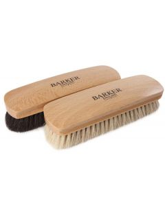 Barker Luxury XL Horsehair Polishing Brush - Black and Natural-Double Pack