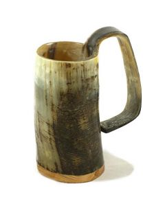 Medium Horn Tankard - Rough Finish Handcrafted Horn Mug