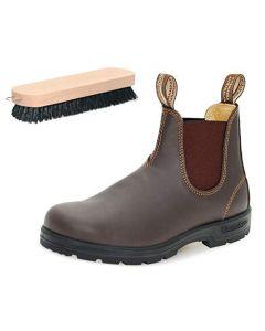 Blundstone Style 550 Walnut Brown Boots with Shoe Polishing Brush (4 UK)