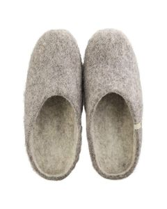EGOS Womens Slip On Natural Grey Wool Suede Comfort Leather Sole Slippers