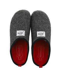 Mercredy Slipper Black Burgundy Mens Slippers Shoes in Black Burgundy