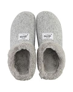 Mercredy Light Grey Felted Mule Slipper with Faux Fur collar and Removable faux Fur comfort insole