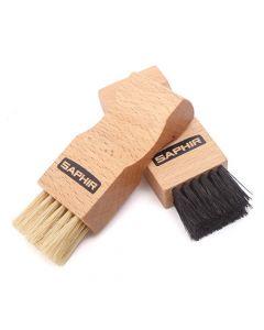 Saphir Light Wood Pommadier Flat Applicator Brush - Natural and Black