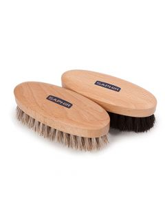 Saphir Oval Buffing Brushes - Natural and Black