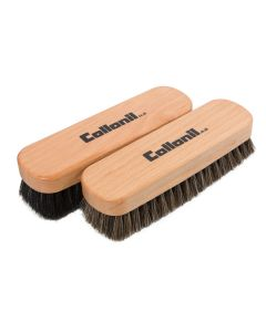 Collonil Beechwood Buffing and Polishing Horse Hair Brush for Shoes and Boots-Double Pack