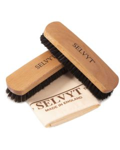 Selvyt Beechwood Curved Handled Horsehair Buffing Brushes & Selvyt SR A Cloth